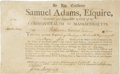 "Autographs:Statesmen, Samuel Adams Document Signed as governor of Massachusetts andcountersigned by ""John Avery Sec[retar]y..."