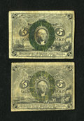 Fractional Currency:Second Issue, Fr. 1232 5¢ Second Issue Very Good. Two Examples.... (Total: 2 notes)