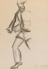 THOMAS HART BENTON (American, 1889-1975) Sketch of a Union Soldier, circa 1929-1930 Graphite and was