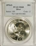 Eisenhower Dollars: , 1974-S $1 Silver MS68 PCGS. PCGS Population (798/2). NGC Census: (119/1). Mintage: 1,900,156. Numismedia Wsl. Price for NGC...