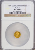 California Fractional Gold, 1870 50C Liberty Octagonal 50 Cents, BG-922, R.3, MS65 ProoflikeNGC....