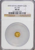 California Fractional Gold, 1870 25C Goofy Head Octagonal 25 Cents, BG-789, R.4, MS66 NGC....