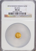 California Fractional Gold, 1874 25C Indian Round 25 Cents, BG-875, High R.4, MS66 NGC....