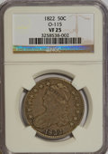 Bust Half Dollars: , 1822 50C VF25 NGC. O-115. NGC Census: (8/464). PCGS Population(9/518). Mintage: 1,559,573. Numismedia Wsl. Price for NGC/...