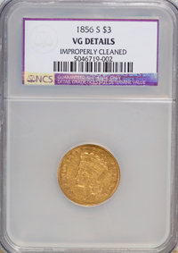 1856-S $3 --Improperly Cleaned--NCS. VG Details. NGC Census: (4/469). PCGS Population (1/322). Mintage: 34,500. Numismed...
