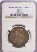 Bust Half Dollars: , 1834 50C Small Date, Small Letters VF35 NGC. O-111. PCGS Population(17/496). (#6166)...