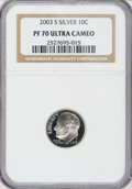 Proof Roosevelt Dimes: , 2003-S 10C Silver PR70 Ultra Cameo NGC. PCGS Population (208/0).Numismedia Wsl. Price for NGC/PCGS coi...