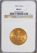 Liberty Eagles: , 1907-S $10 MS61 NGC. NGC Census: (62/110). PCGS Population (21/55). Mintage: 210,500. Numismedia Wsl. Price for NGC/PCGS co...