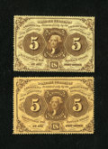Fractional Currency:First Issue, Fr. 1229 5c First Issue VF-XF. Fr. 1230 5c First Issue VF.. ... (Total: 2 notes)