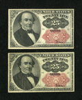 Fractional Currency:Fifth Issue, Fr. 1309 25c Fifth Issue. Two Examples. VF; New, pinholes....(Total: 2 notes)