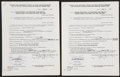 Autographs:Others, Bobby Thomson And Ralph Branca Signed Contracts. ...