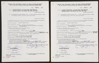 Bobby Thomson And Ralph Branca Signed Contracts