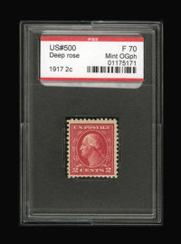 #500, 1917, 2c Deep Rose, F 70 PSE. (Original Gum - Previously Hinged)