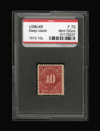 #J49, 1910, 10c Deep Claret, F 70 PSE. (Original Gum - Never Hinged)