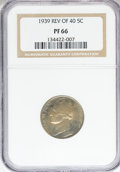 Proof Jefferson Nickels, 1939 5C Reverse of 1940 PR66 NGC. NGC Population (39/16).Numismedia Wsl. Price for NGC/PCGS coin in PR...