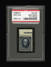 #274, 1895, 15c Dark Blue, VG 50 PSE. (Original Gum - Never Hinged)