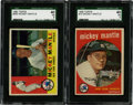 Baseball Cards:Lots, 1959-60 Topps Mickey Mantle SGC 40 VG 3 Group Lot of 2....
