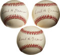 Autographs:Baseballs, Cecil Travis Single Signed Baseballs Lot of 3.... (Total: 3 items)