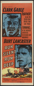 "Movie Posters:War, Run Silent, Run Deep (United Artists, 1958). Insert (14"" X 36"").War...."