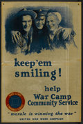 "Movie Posters:War, War Propaganda Poster (United War Work Campaign, 1918). World War IPoster (28"" X 42"") ""Keep 'em Smiling"". War...."