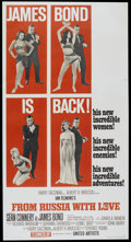"Movie Posters:James Bond, From Russia with Love (United Artists, 1964). Three Sheet (41"" X 81"") Style B. James Bond...."