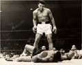 Boxing Collectibles:Autographs, Muhammad Ali Signed Oversized Photo Over Sonny Liston....