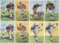 Football Collectibles:Others, Goal Line Hall of Fame Art Cards Signed Lot of 8....