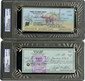 Autographs:Checks, Bob Gibson and Ralph Kiner Signed Checks PSA Gem Mint 10 Lot of2....