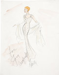 Movie/TV Memorabilia:Original Art, Joan Crawford Dress Design Sketch by Edith Head....