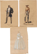 Movie/TV Memorabilia:Original Art, Lana Turner, Others Green Dolphin Street Costume DesignSketches by Irene.... (Total: 3 Items)