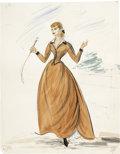 Movie/TV Memorabilia:Original Art, Edith Head Gunfight at the O.K. Corral Costume DesignDrawing....