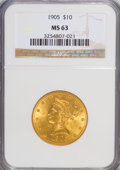 Liberty Eagles: , 1905 $10 MS63 NGC. NGC Census: (220/112). PCGS Population (165/95). Mintage: 200,900. Numismedia Wsl. Price for NGC/PCGS co...