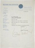 Music Memorabilia:Autographs and Signed Items, Leopold Stokowski Signed Letter....