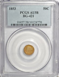 California Fractional Gold: , 1853 50C Liberty Round 50 Cents, BG-421, R.4, AU58 PCGS. PCGSPopulation (17/77). NGC Census: (2/8). (#10457)...