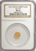 California Fractional Gold: , 1871 25C Liberty Octagonal 25 Cents, BG-767, R.3, MS63 NGC. NGCCensus: (11/6). PCGS Population (19/13). (#10594)...