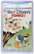 Golden Age (1938-1955):Cartoon Character, Walt Disney's Comics and Stories #128 (Dell, 1951) CGC VF 8.0Off-white pages....