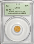 California Fractional Gold, 1871 50C Liberty Round 50 Cents, BG-1011, R.2, MS63 PCGS. PCGSPopulation (82/96). NGC Census: (10/24). (#10840)...