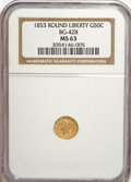 California Fractional Gold: , 1853 50C Liberty Round 50 Cents, BG-428, R.3, MS63 NGC. NGC Census:(4/2). PCGS Population (27/6). (#10464)...