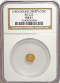 California Fractional Gold: , Undated 25C Liberty Round 25 Cents, BG-222, R.2, MS61 NGC. NGCCensus: (2/49). PCGS Population (19/353). (#10407)...