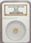 California Fractional Gold: , 1853 25C Liberty Octagonal 25 Cents, BG-102, Low R.4, MS63 NGC. NGCCensus: (7/6). PCGS Population (35/18). (#10371)...