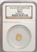 California Fractional Gold: , 1860/50 25C Liberty Round 25 Cents, BG-819, R.4, MS61 NGC. NGCCensus: (2/3). PCGS Population (12/38). (#10680)...