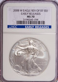 Modern Bullion Coins, 2008-W $1 Silver Eagle Rev of 2007 MS70 NGC. Early Releases. PCGSPopulation (168/0). (#396437). Fro...
