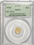 California Fractional Gold, 1870 50C Liberty Round 50 Cents, BG-1010, R.3, MS63 PCGS. PCGSPopulation (27/58). NGC Census: (0/6). (#10839)...