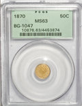 California Fractional Gold: , 1870 50C Goofy Head Round 50 Cents, BG-1047, High R.4, MS63 PCGS.PCGS Population (9/2). NGC Census: (1/2). (#10876)...