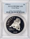 Modern Issues: , 1995-S $1 Civil War Silver Dollar PR70 Deep Cameo PCGS. PCGS Population (9/0). Numismedia Wsl. Price fo...