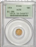 California Fractional Gold: , 1854 50C Liberty Octagonal 50 Cents, BG-308, R.4, AU58 PCGS. PCGSPopulation (27/72). NGC Census: (1/12). (#10428)...