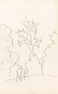 Fine Art - Work on Paper:Drawing, CHARLES EPHRAIM BURCHFIELD (American, 1893-1967). Sketch ofTree. Graphite on sketchbook paper. 9-1/2 x 6 inches (24.1 x...