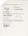 Music Memorabilia:Autographs and Signed Items, Bob Dylan Signed Contract....