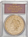 """S.S.C.A. Relic Gold Medals, 1855 $50 SSCA Relic Gold Medal """"1855 Kellogg & Co. Fifty"""" GemProof PR69 PCGS. ..."""