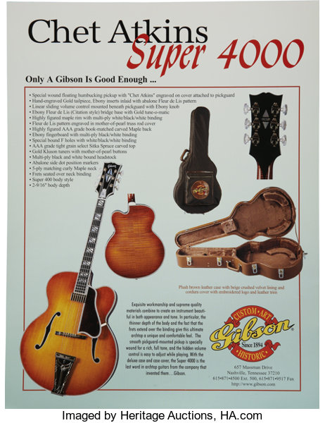 Musical Instruments:Electric Guitars, Gibson Chet Atkins Super 4000 Limited Edition Guitar (1978) Condition: Near Mint.. ...